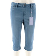 Laurie Felt Silky Denim Pull-On Pedal Pushers Pocket French Blue M NEW A... - $32.65