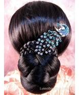 """Austrian Crystal Hair Claw Clip """"Serena"""" Teal Blue free organza bag - $16.75"""