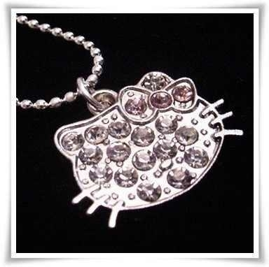 Primary image for HELLO KITTY Rhinestone Charm on Silver Necklace - brand new