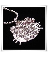 HELLO KITTY Rhinestone Charm on Silver Necklace - brand new - $12.99
