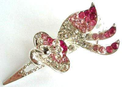 "Austrian Crystal Hair Claw Clip ""Sula"" Peacock Pink free organza bag"