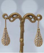 SWAROVSKI Teardrop Earrings, Crystal Pave Gold Plated Teardrop Pierced E... - $119.00