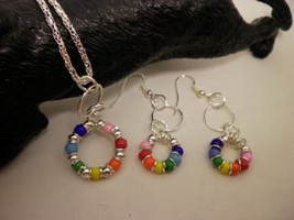 Rainbow Beaded Necklace and Earring Set - $15.00