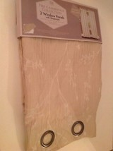 Pair Cambridge Collection Ivory & White Floral Grommet Panel 38 x 84 in.... - $35.07