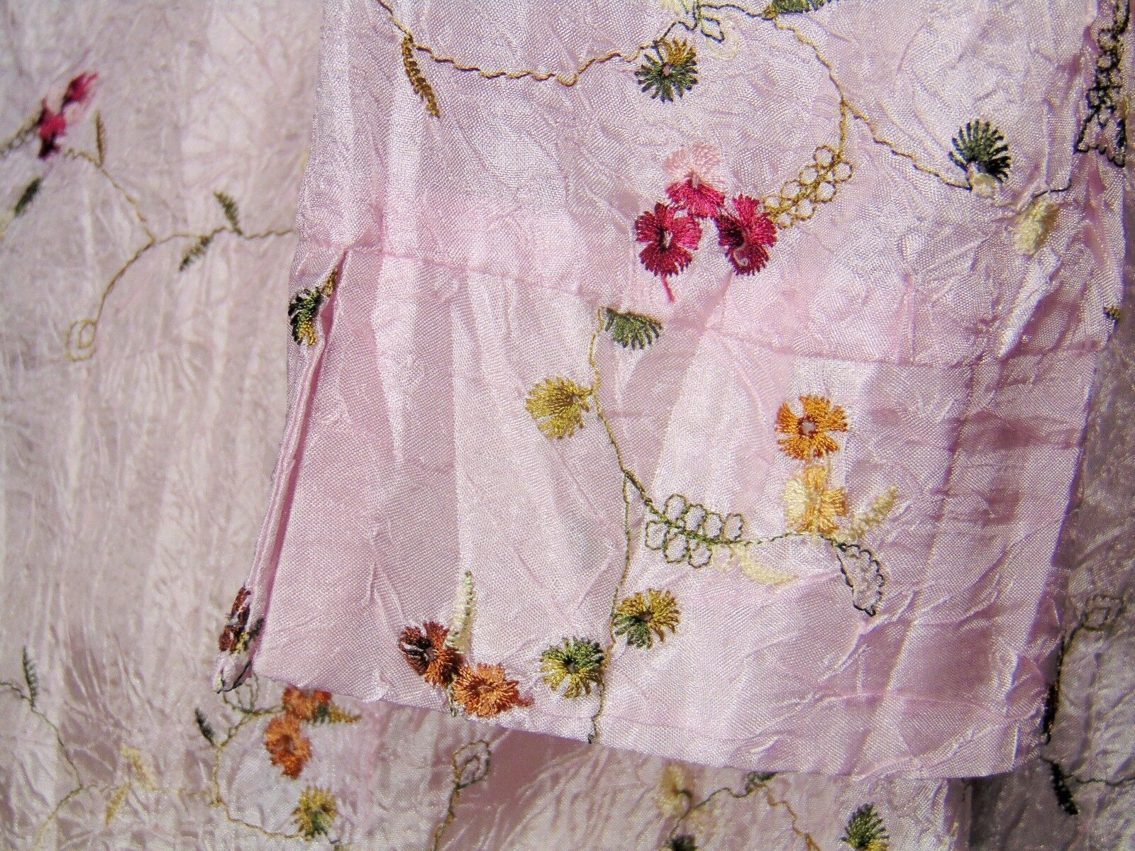 CLAUDIA RICHARD pink floral polyester 3/4 sleeve button blouse M (T43-04E9G) image 9