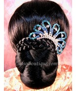 "Austrian Crystal Hair Comb ""Ava"" Teal Blue free organza bag - $14.75"