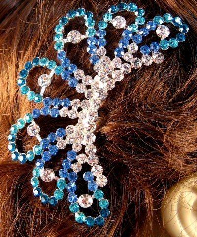 "Austrian Crystal Hair Comb ""Ava"" Teal Blue free organza bag"