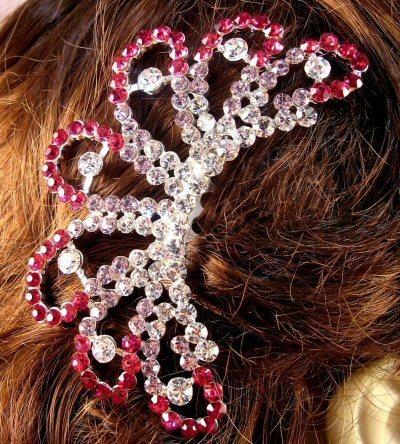"Austrian Crystal Hair Comb ""Ava"" Teal Pink free organza bag"