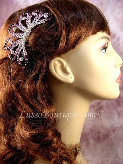 "Austrian Crystal Hair Comb ""Ava"" Purple free organza bag"
