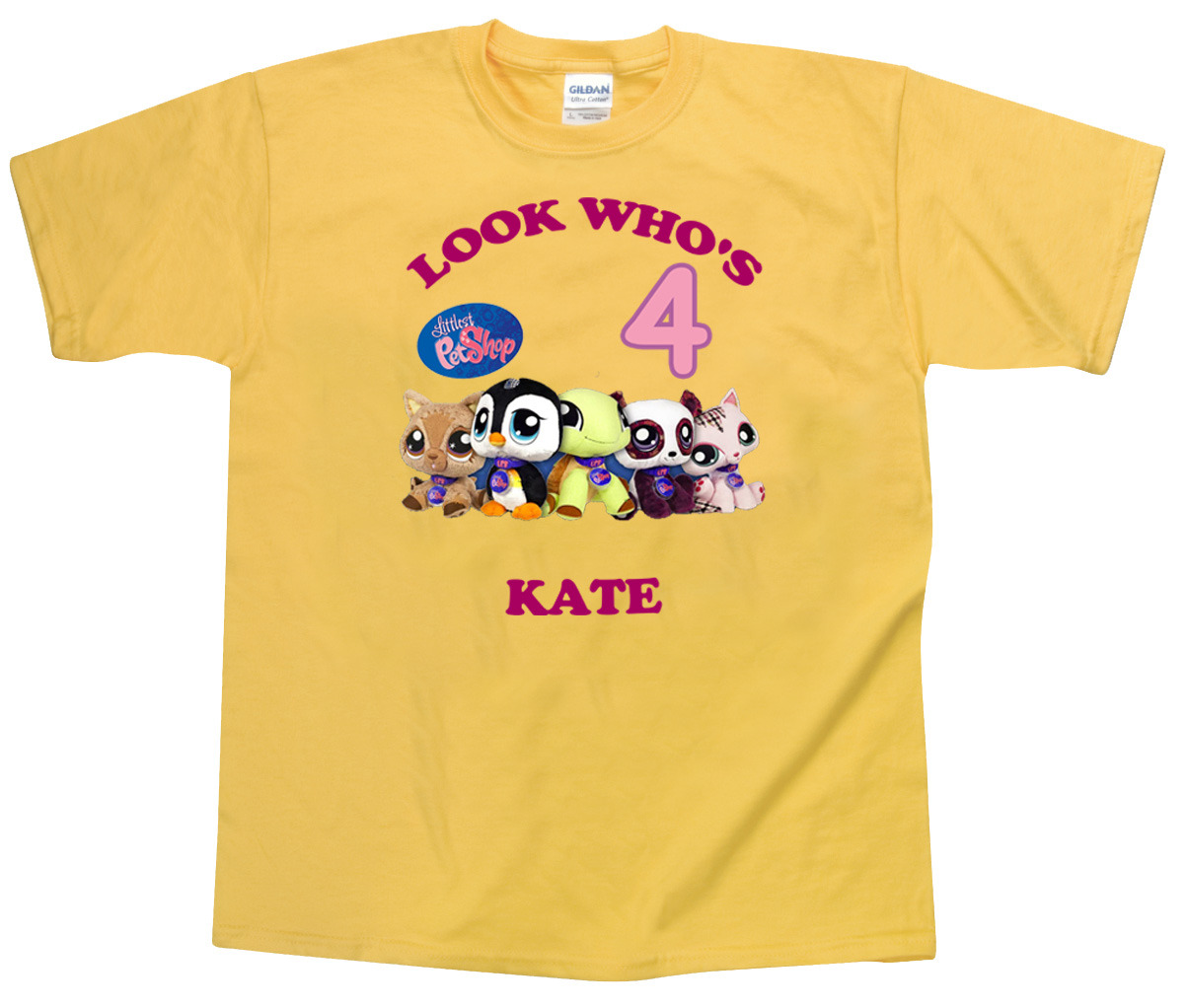 Personalized Custom Littlest Pet Shop Yellow Birthday T-Shirt Gift Add Name #2