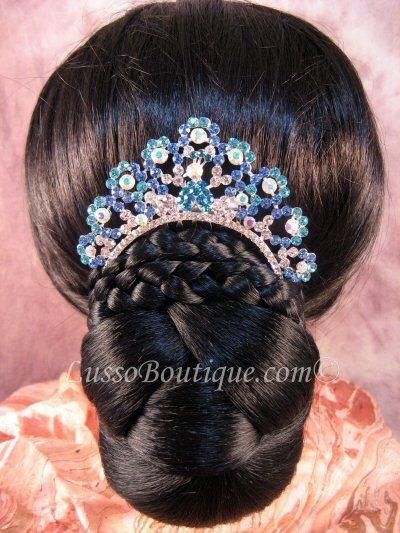 """Austrian Crystal Hair Comb """"Emiko"""" Teal Blue free organza bag"""