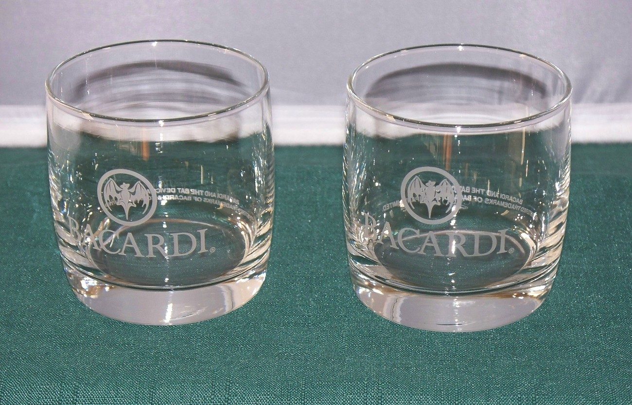 Bacardi Heavy Base Old Fashioned Glasses Set Of Two VGC