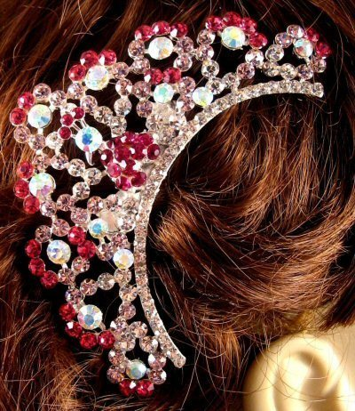 "Austrian Crystal Hair Comb ""Emiko"" Pink free organza bag"