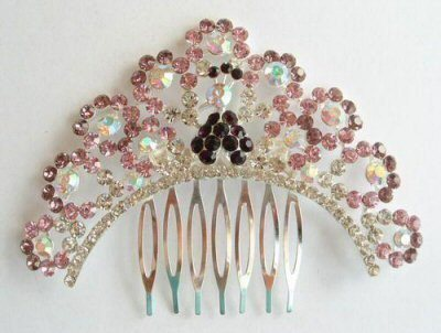 "Austrian Crystal Hair Comb ""Emiko"" Purple free organza bag"