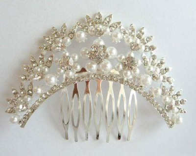"Austrian Crystal Hair Comb ""Helga"" Bridal Clear free organza bag"