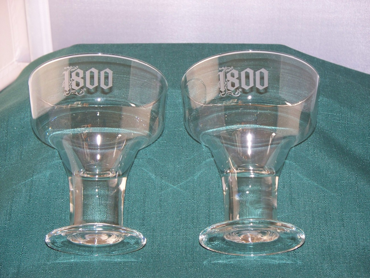 Two Cuervo 1800 Thick Stem Margarita Glasses Frosted Logo VGC