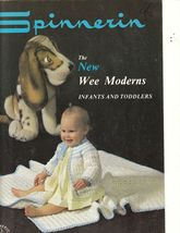 The Wee Moderns Crochet Knit Patterns Vintage Spinnerin Book Infants Tod... - $9.00