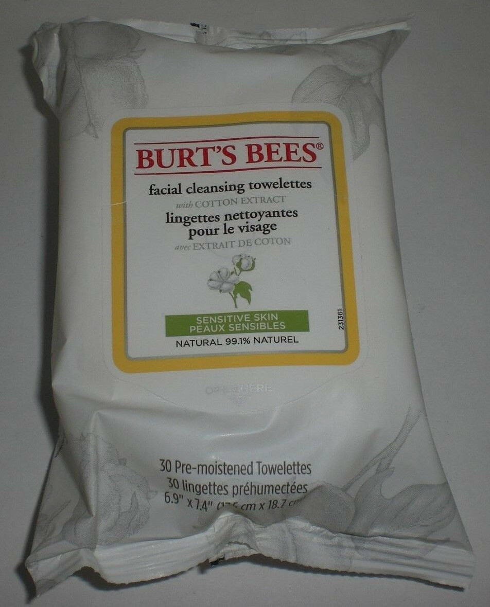 Burt's Bees Face Cleansing Towelettes Wipe Cotton Extract Sensitive Skin 30 x6