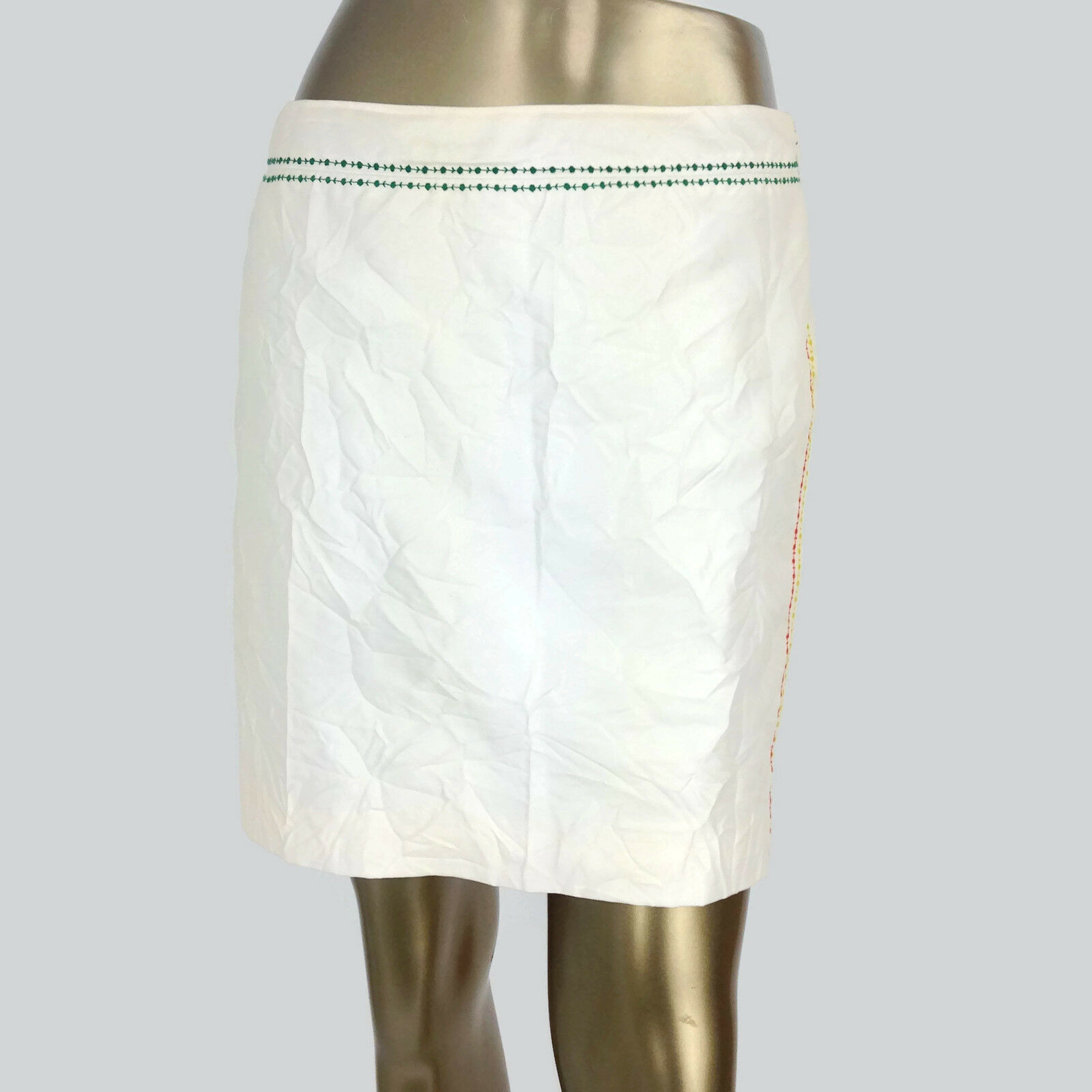 Primary image for Gianni Versace Made In Italy Women's Ivory Wool Mini Skirt Embroidered Trim 40
