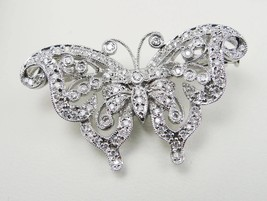 Vintage 14k White Gold Filigree Diamond Butterfly Pin/Brooch, 2ct tw - $1,298.00