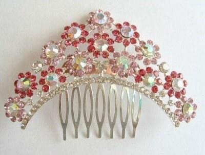 """Austrian Crystal Hair Comb """"Magda"""" Pink free organza bag"""