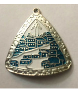 "Vintage Necklace Pendant Triangle Blue White Silver 1 1/2"" H X 11/2"" W - $5.70"