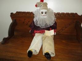 Vtg Porcelain Pierrot Clown Doll 2ft  OOAK Hand Paint Artist Christine R... - $144.90