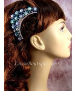 "Austrian Crystal Hair Comb ""Magda"" Teal Blue free organza bag - $14.75"