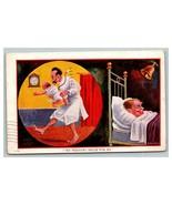 Vintage 1907 Comic Postcard Sleeping Man Happy That He's a Bachelor Cryi... - $17.79