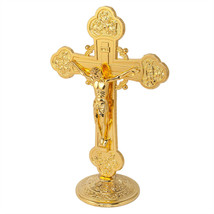 Antique Gold-Plated Catholic Altar Standing Wall Crucifix INRI Jerusalem... - $17.82