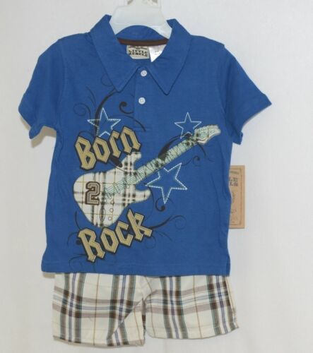 Little Rebels Boys Two Piece Born 2 Rock Shirt Shorts Outfit 18 Months