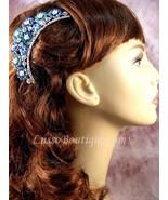 "Austrian Crystal Hair Comb ""Paula"" Teal Blue free organza bag - $14.75"