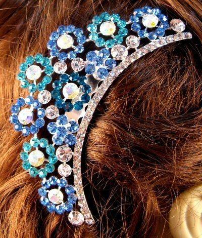 "Austrian Crystal Hair Comb ""Paula"" Teal Blue free organza bag"
