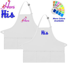 Apron Embroidered with His Hers Hearts Embroidery Design Wedding Gift - $30.99