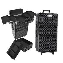 7 in 1 Portable Beauty Make up Cosmetic Trolley Case Diamond Black - $80.14
