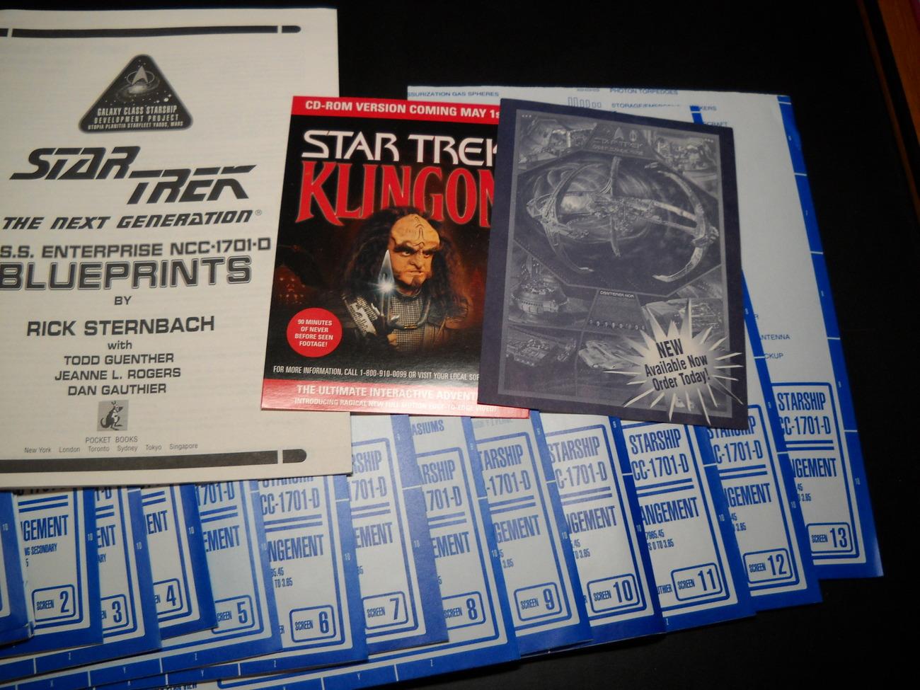 Star Trek Next Generation USS Enterprise NCC 1701 D Blueprints 13 in Book Box