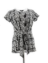 H Halston Short Slv Petal Print Tie Front Knit Top Black M NEW A288599 - $25.72