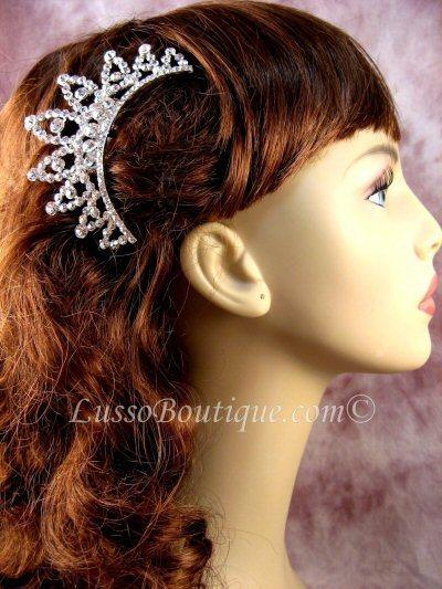 "Austrian Crystal Hair Comb ""Uma"" Bridal Clear free organza bag"