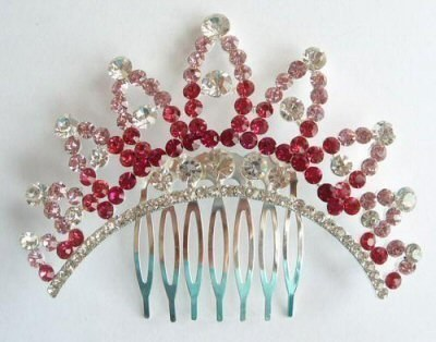 "Austrian Crystal Hair Comb ""Uma"" Pink free organza bag"