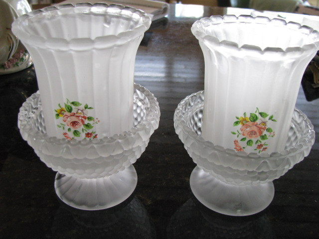Vintage Frosted Glass 4 Piece Candle Votive Holder Roses