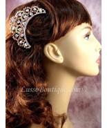 "Austrian Crystal Hair Comb ""Valerie"" Light Topaz Brown free organza bag - $14.75"