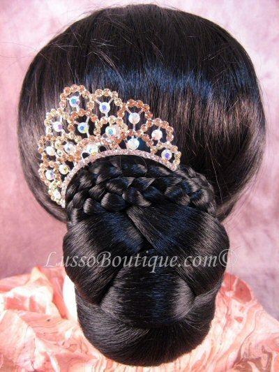 "Austrian Crystal Hair Comb ""Valerie"" Light Topaz Brown free organza bag"