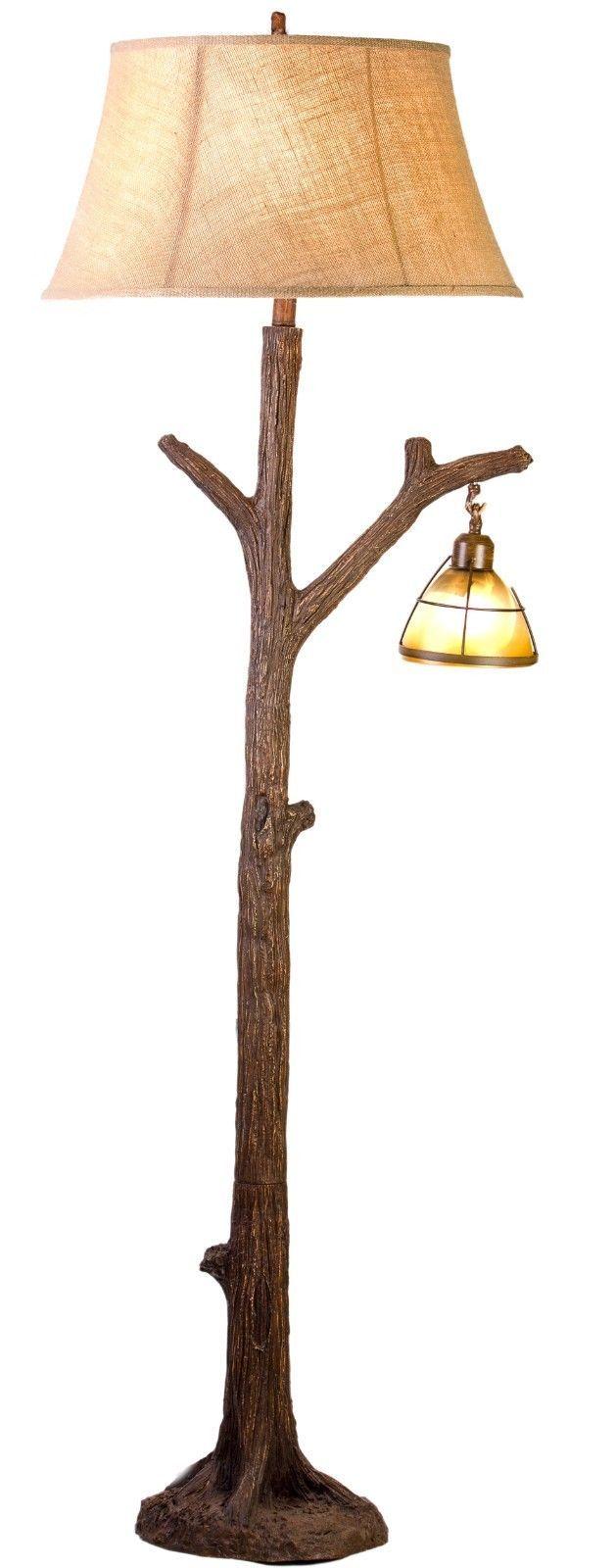 Tree Branch Floor Lamp Rustic Cabin Lodge Decor Glass Lantern Night Light - CFL1