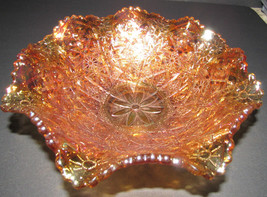 VERY  SCARCE ANTIQUE IMPERIAL AMBER HATTIE PATTERN CARNIVAL GLASS BOWL - $74.25