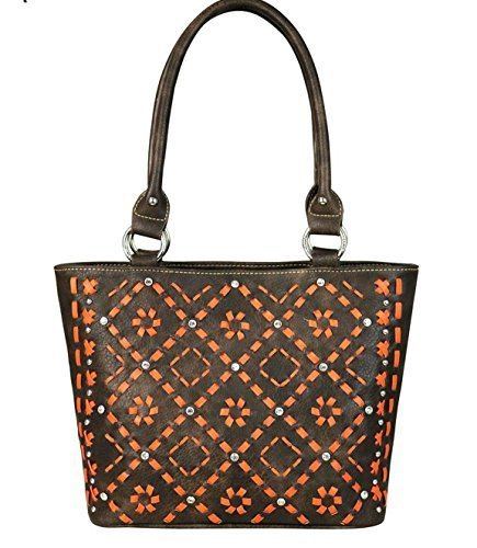 Decorative Bling Woven Pattern Handbag (Coffee Brown)