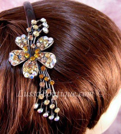 "Austrian Crystal Headband Hairband ""Aiden"" Topaz Brown free organza bag"