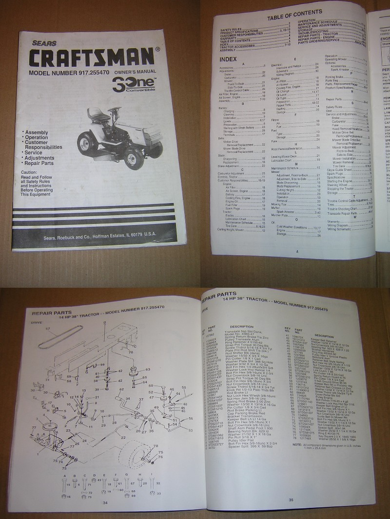 Craftsman Model No. 917.255470 3One Convertible Lawn Tractor Owners Manual