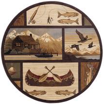 "5' Round (5'3"") Lodge Cabin Fish Canoe Duck Fishing Area Rug - $119.00"
