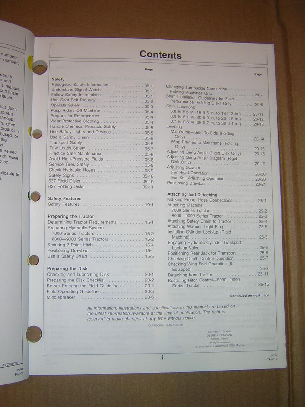 John Deere 637 Regular, Rock and WheatLand Disk Operator's Manual