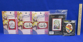 Vintage Cross Stitch Kits Rainbow Teddy Bear Goose Floral Housewife Lot of 5 - $15.04